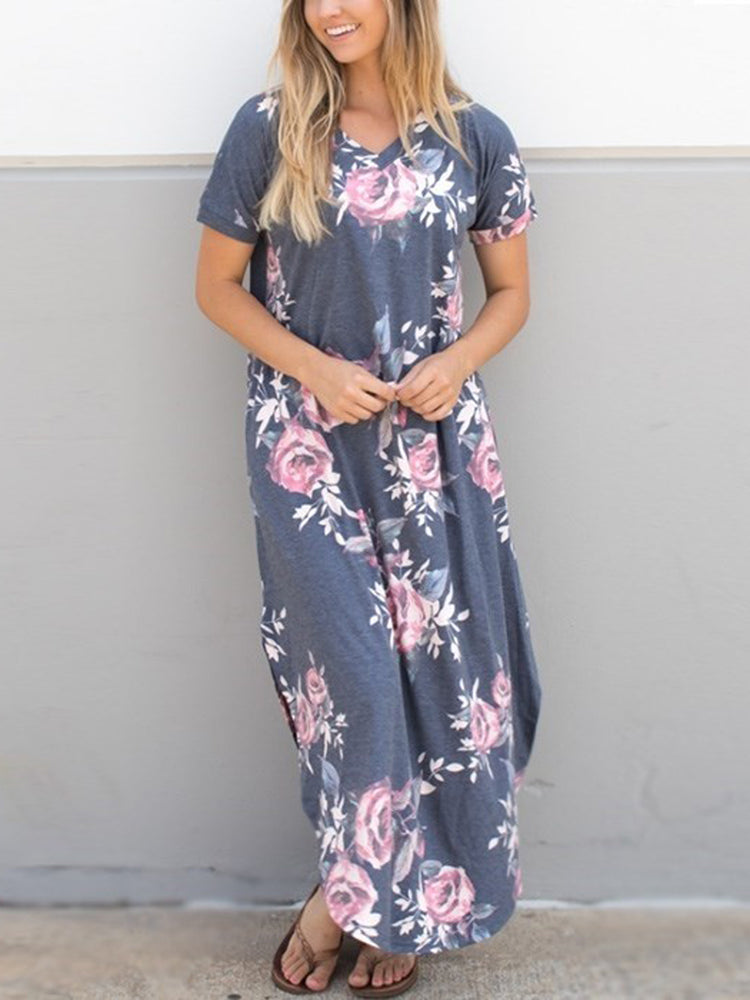 Vintage Floral Relaxed Maxi Charcoal