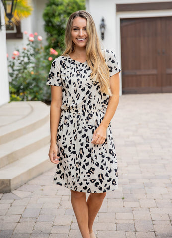 Cheetah Kolbie Dress - Cream