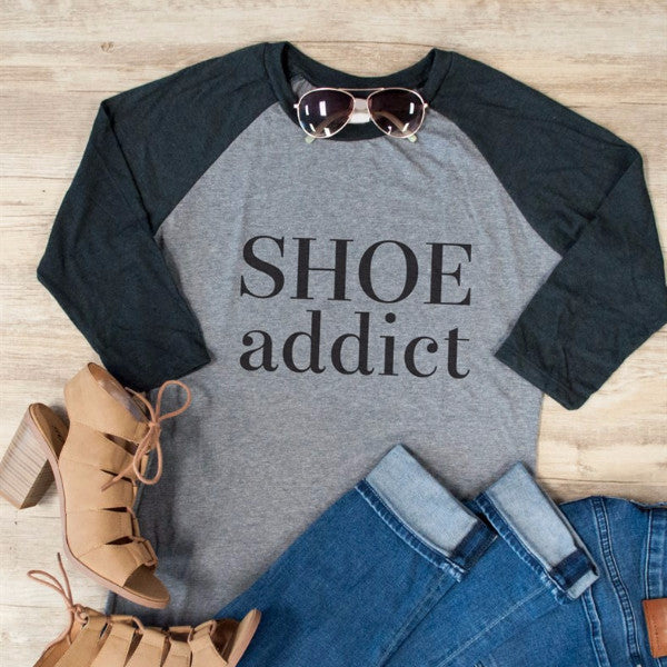 Shoe Addict Raglan Tee - Tickled Teal LLC