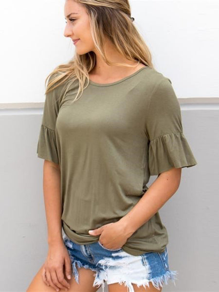 Flare Sleeve Top - Olive