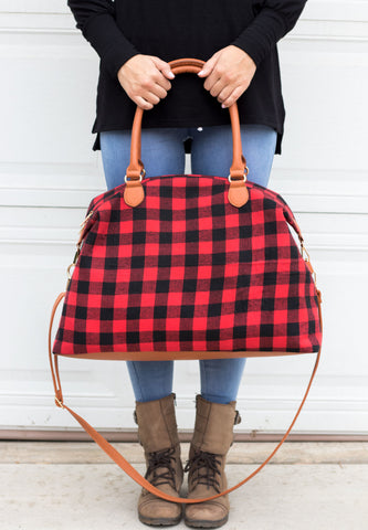 Buffalo Plaid Weekend Bag - Red - Tickled Teal LLC
