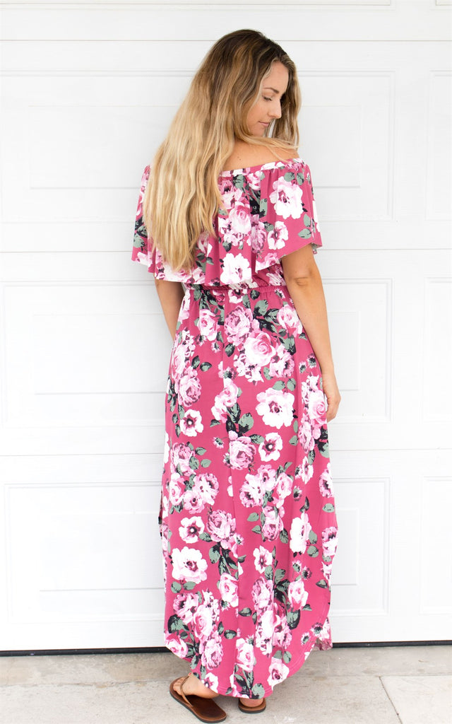032b3a5cb9b Floral Off The Shoulder Maxi Dress - Pink – Tickled Teal LLC