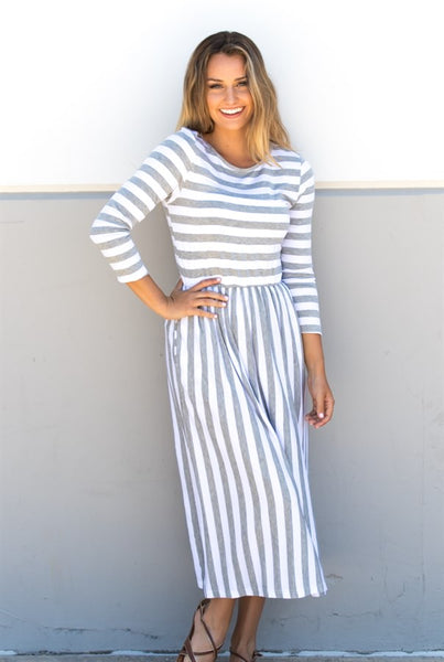 Striped 3/4 Sleeve Midi Dress - Tickled Teal LLC