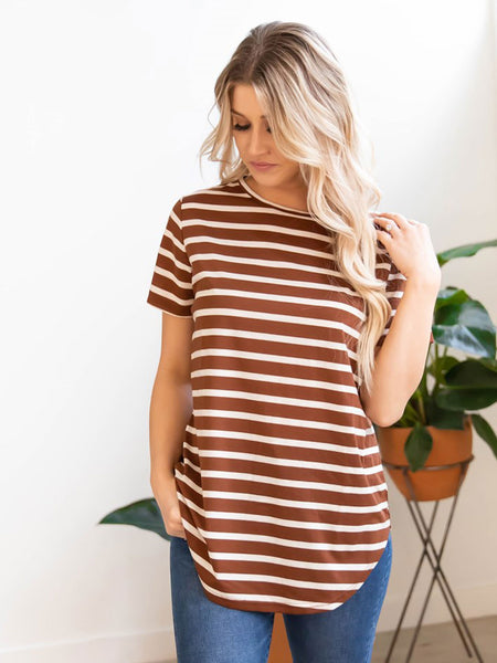 Short Sleeve Striped Mia Top - Brown