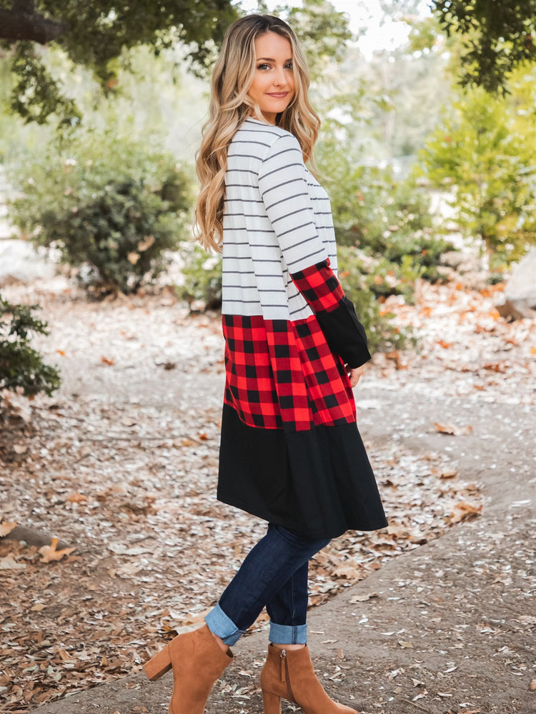 Cooper Cardigan - White Stripe / Red Plaid