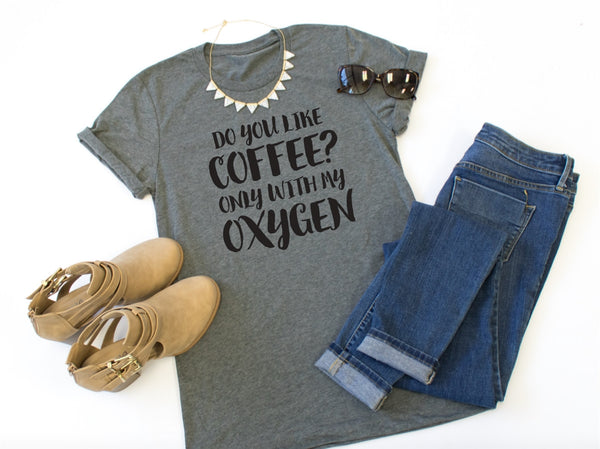 Do You Like Coffee Crew Neck Tee - Tickled Teal LLC