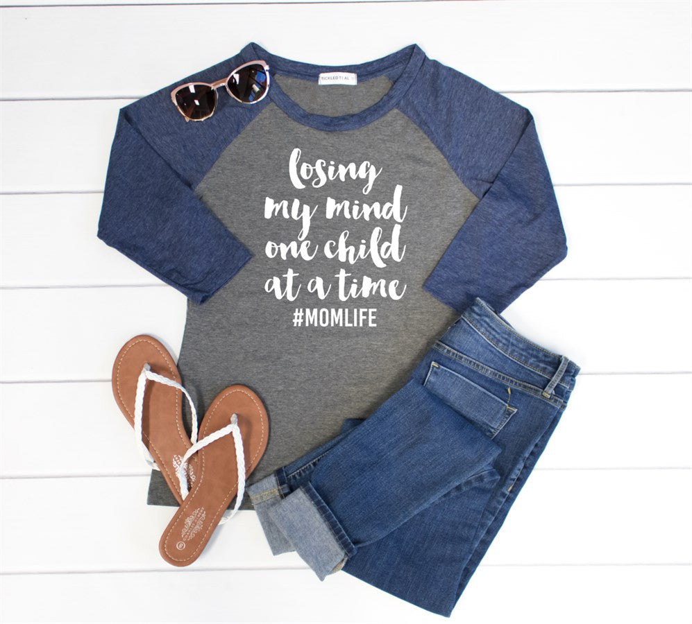 Losing My Mind One Child at A Time Raglan Tee - Tickled Teal LLC