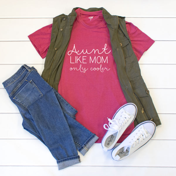 Aunt like mom only cooler Crew Neck Tee - Tickled Teal LLC