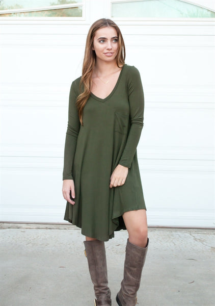 Pocket Swing Dress - Olive - Tickled Teal LLC