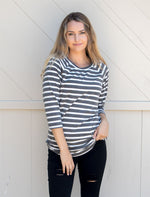 Striped Sydney Tunic | S-3X  - Charcoal - Tickled Teal LLC