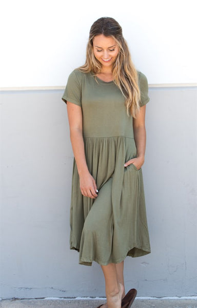 Solid Midi Dress - Olive - Tickled Teal LLC