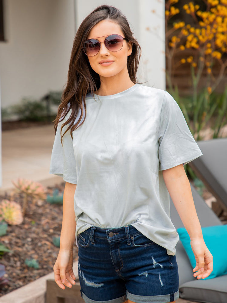 Oversized Watercolor Tee - Gray