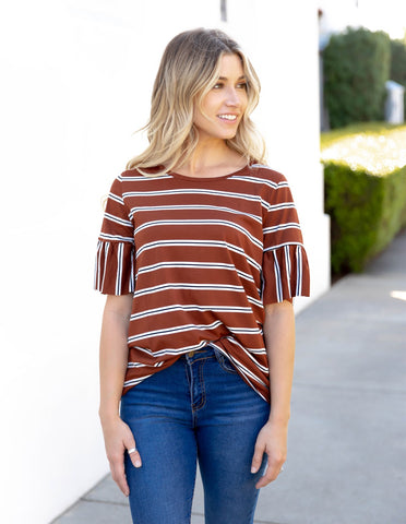 The Aleigha Top | S-3X - Brown
