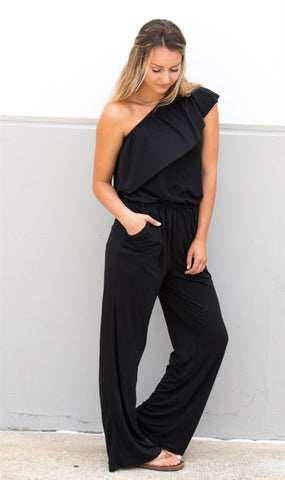 One Shoulder Jumpsuit - Tickled Teal LLC