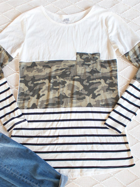 Stripe and Camo Colorblocked Tunic - White