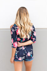 Cut Out Shoulder Tunic - Navy - Tickled Teal LLC