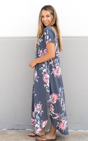 Vintage Floral Relaxed Maxi Charcoal - Tickled Teal LLC