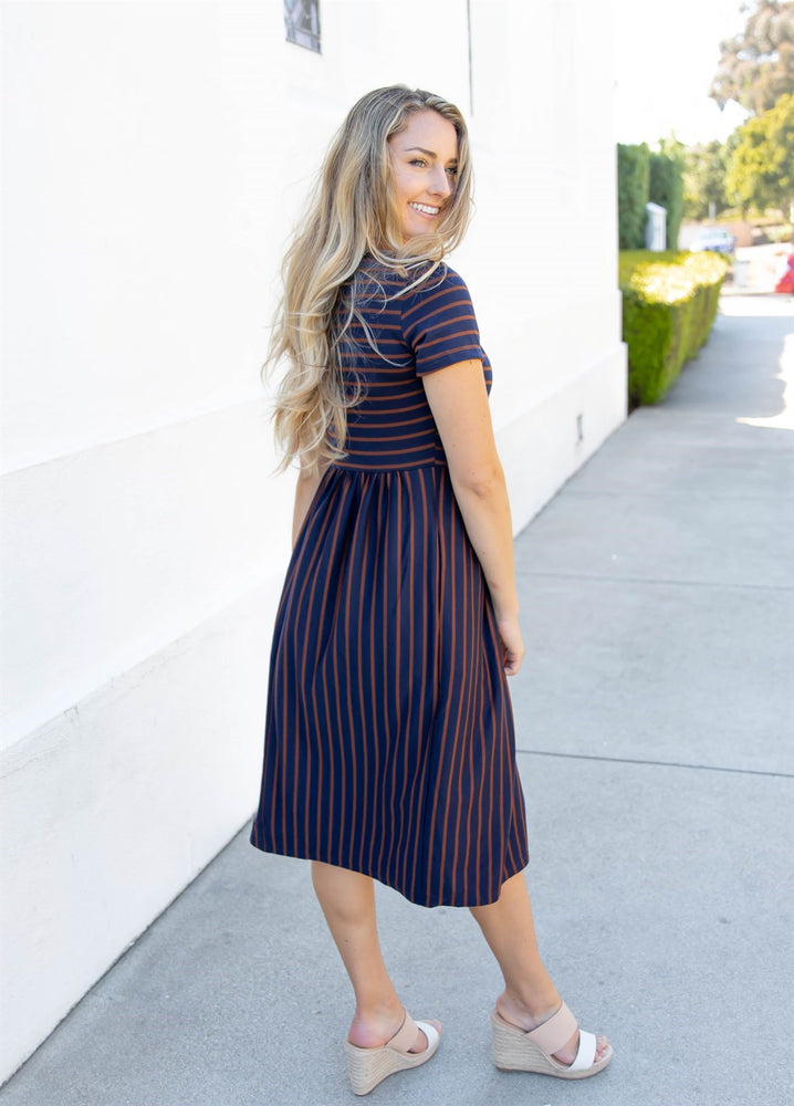 Striped Midi Dress - Navy/brown