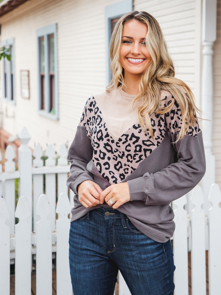 Donna Top - Tan/Taupe Leopard/Gray