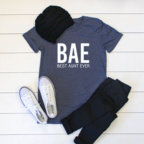 BAE - Best Aunt Ever Crew Neck Tee - Tickled Teal LLC