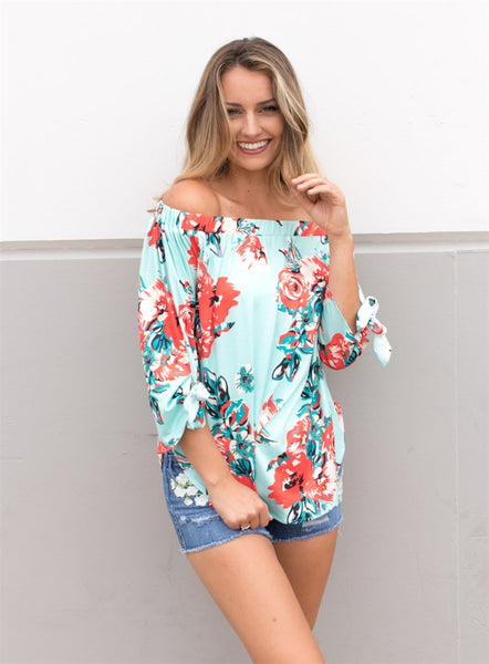 Watercolor Floral Off Shoulder Top - Tickled Teal LLC