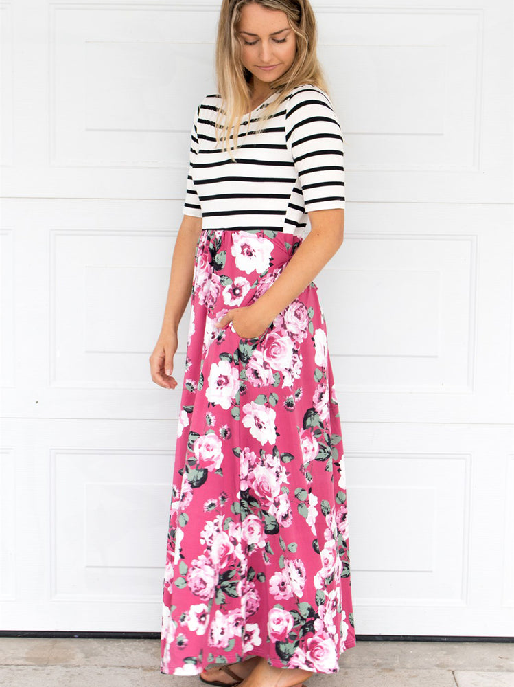 Stripe and Floral Maxi Dress - Pink