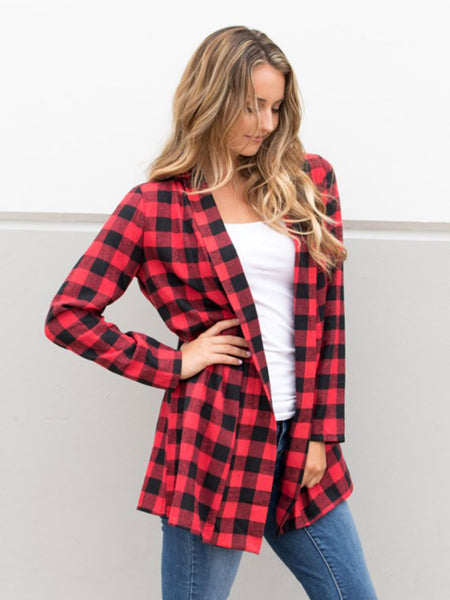 Plaid Cardigan - Tickled Teal LLC