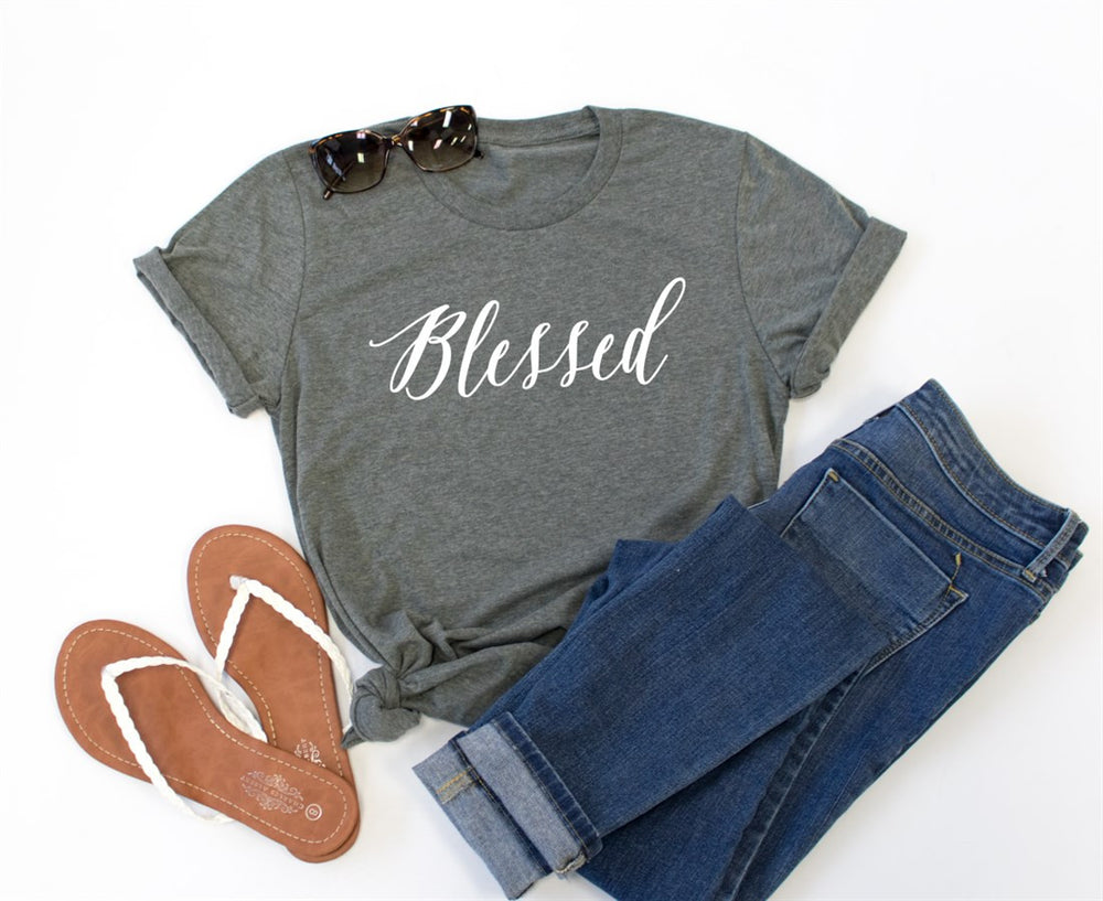 Blessed Crew Neck Tee - Tickled Teal LLC