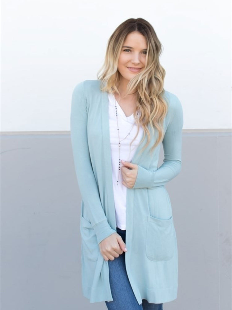 Long Pocket Cardigan - Slate Blue