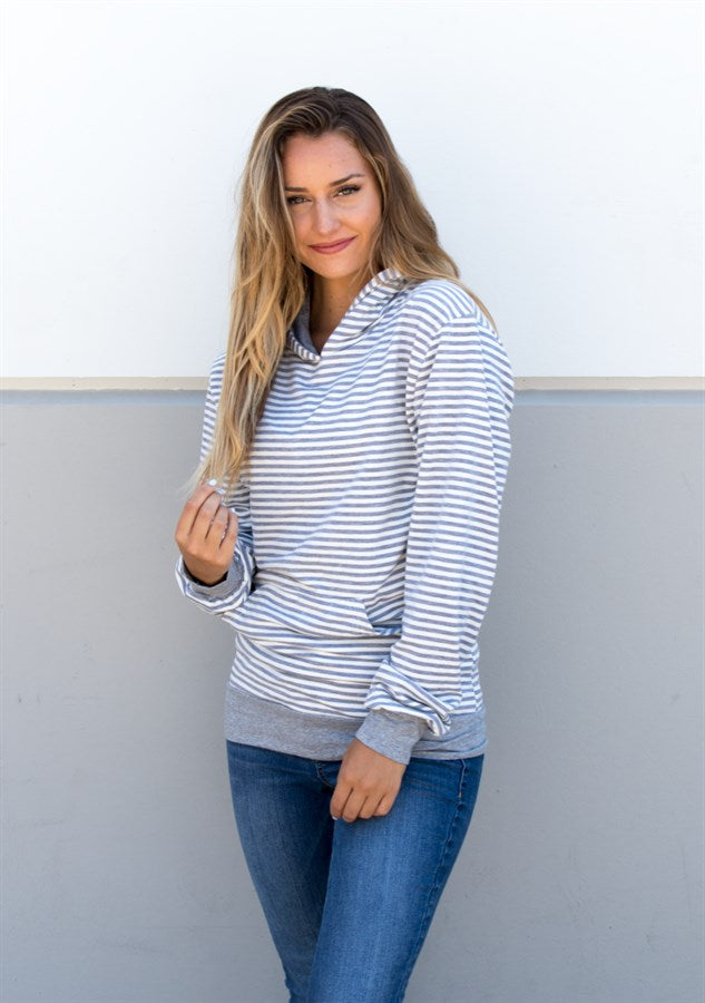 Skinny Stripe Hoodie - Gray - Tickled Teal LLC