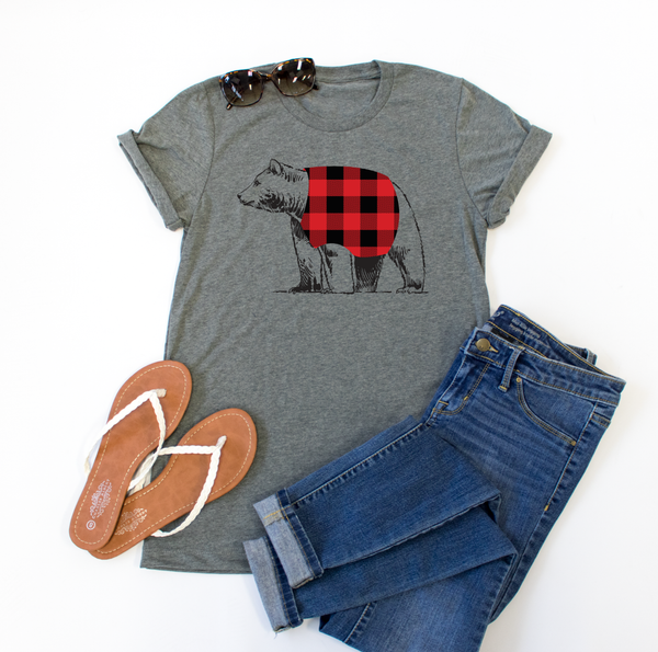 Bear Flannel Crew Neck Tee - Tickled Teal LLC