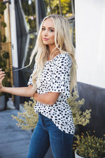 Brooklyn Flare Sleeve Top - White Dot