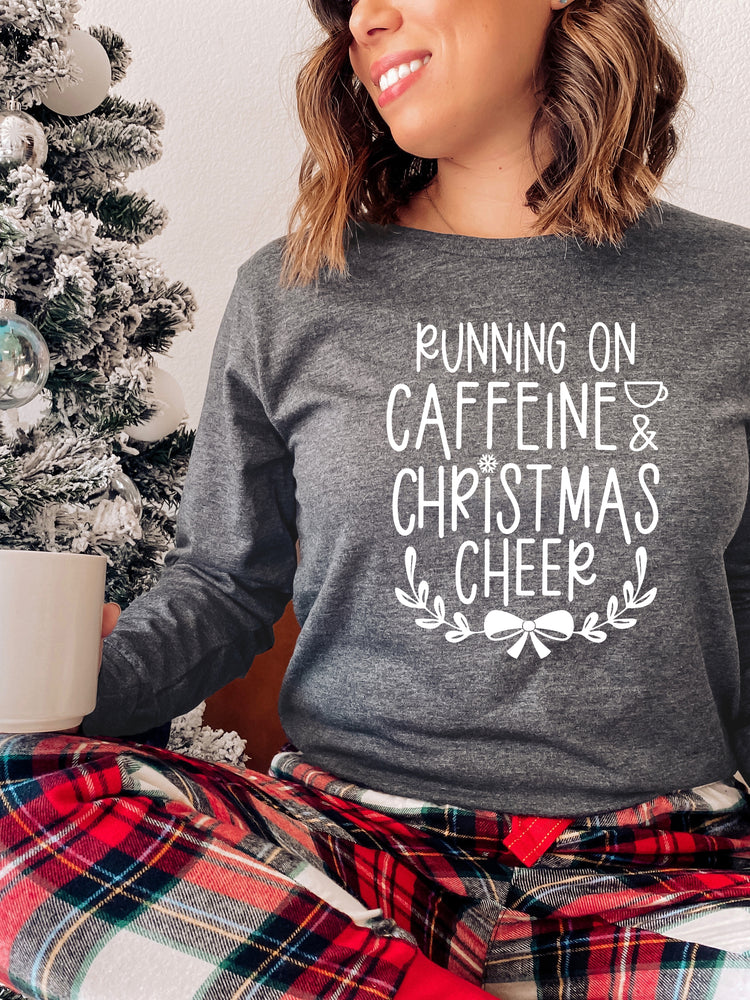 Running on Caffeine & Christmas Cheer Graphic Tee