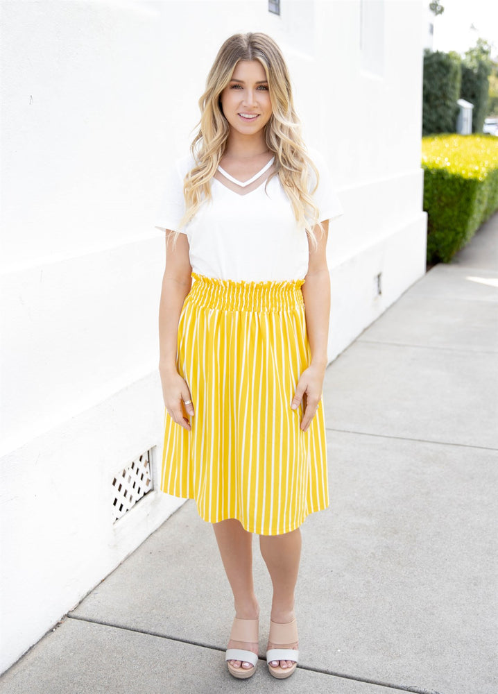 Striped Tracie Skirt - Yellow