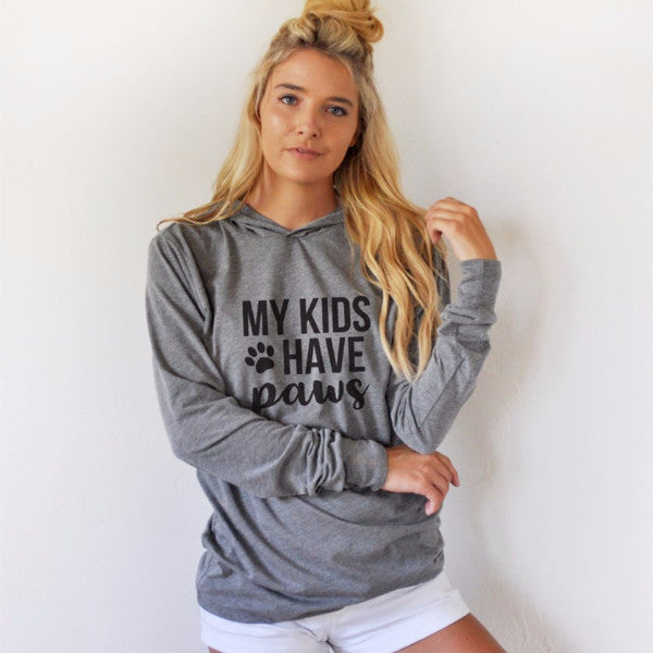 My kids have paws Graphic Hoodie - Tickled Teal LLC