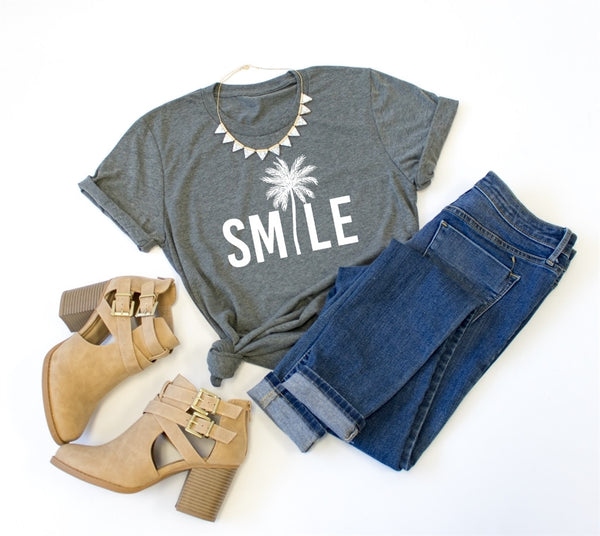 Smile Crew Neck Tee - Tickled Teal LLC