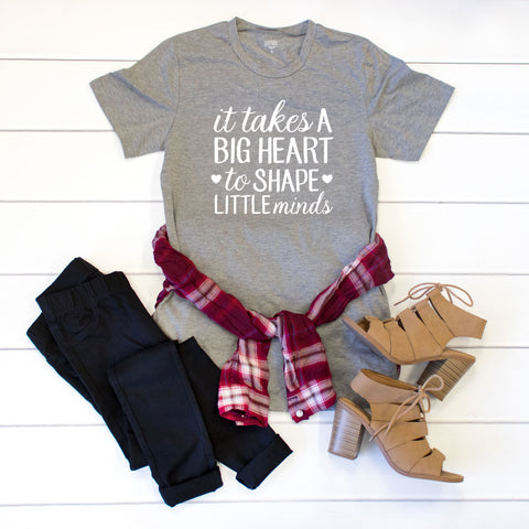 It takes a big heart to shape little minds Crew Neck Tee - Tickled Teal LLC