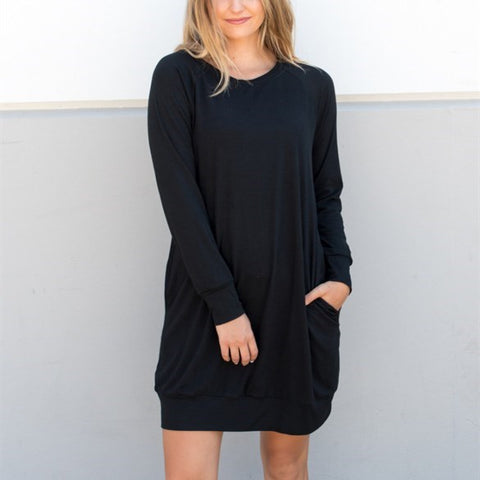 Pocket Sweater Tunic - Black - Tickled Teal LLC