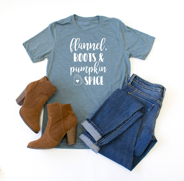 Flannel, Boots, & Pumpkin Spice Crew Neck Tee - Tickled Teal LLC