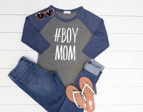 #Boymom Raglan Tee - Tickled Teal LLC