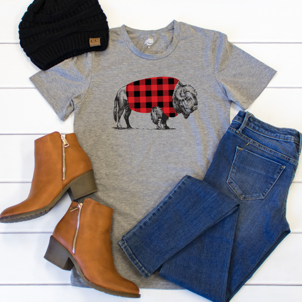 Buffalo Flannel Crew Neck Tee - Tickled Teal LLC