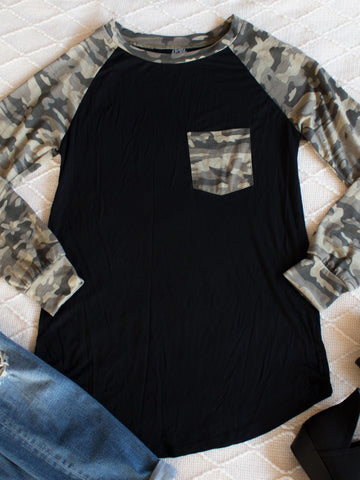 Pocket Camo Raglan - Black