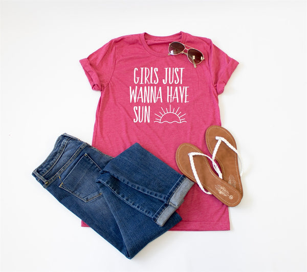 Girls Just Wanna Have Sun Crew Neck Tee - Tickled Teal LLC