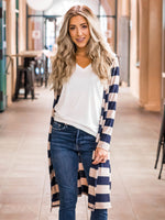 The Layla Cardigan - Tan & Navy