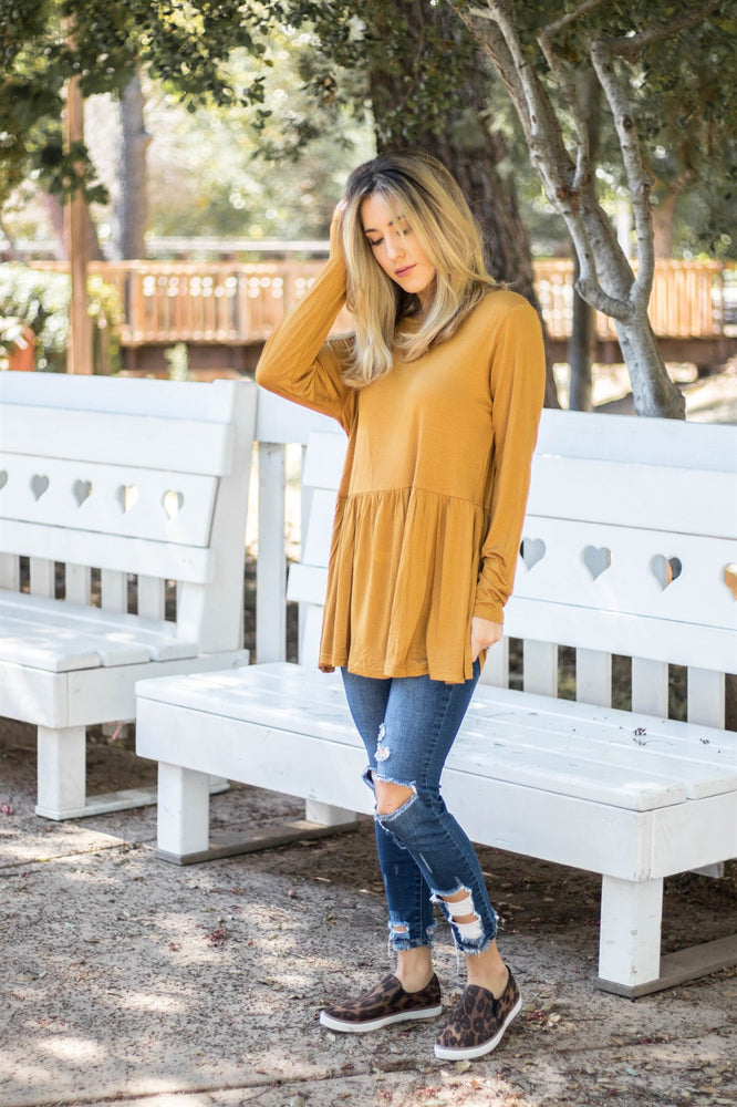 The Evelyn Top - Mustard - Tickled Teal LLC