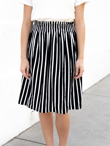 Striped Tracie Skirt - Black