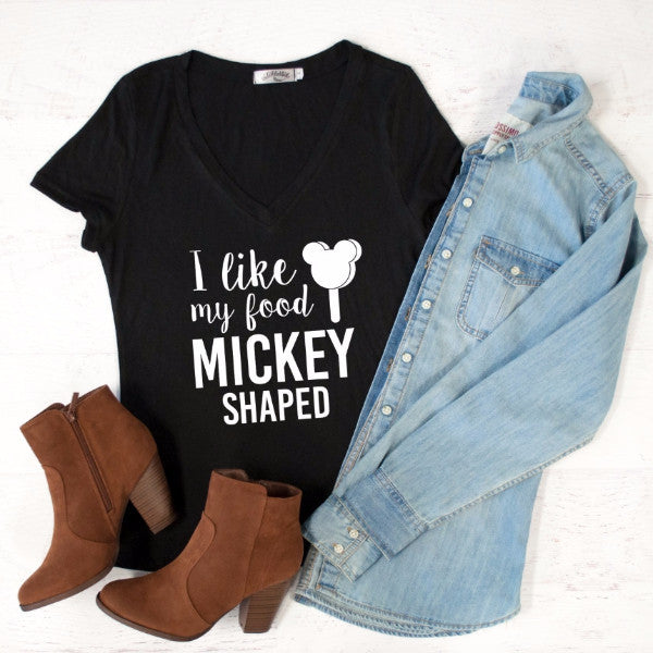 I like my food Mickey Shaped Tshirt - Tickled Teal LLC