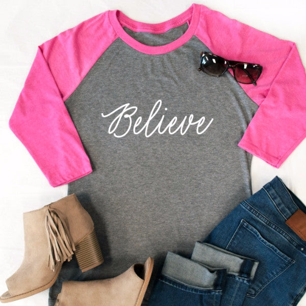 Believe Raglan Tee - Tickled Teal LLC