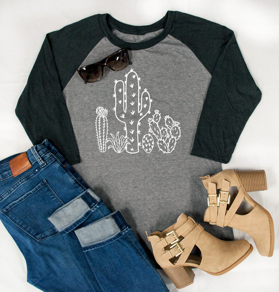 Cactus Raglan Tee - Tickled Teal LLC