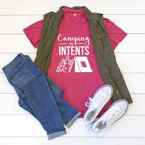 Camping is intents Crew Neck Tee - Tickled Teal LLC